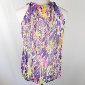 CAbi Tops - CAbi Faux Wrap Sleeveless Watercolor Floral Top